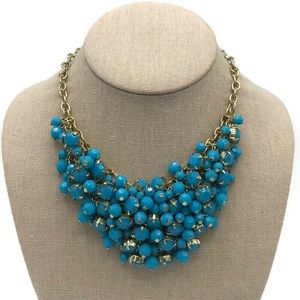 H & M Blue Beaded Chain Mail Necklace Gold-Tone
